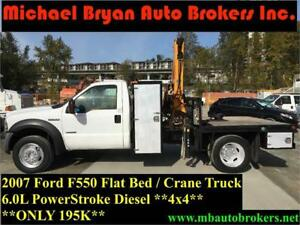 2007 FORD F550 FLAT BED / CRANE TRUCK *4X4* ONLY 195K
