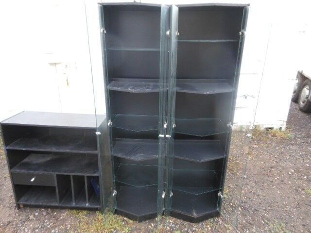 2 X 6ft Tall Glass Display Cabinets With Glass Doors And Shelves