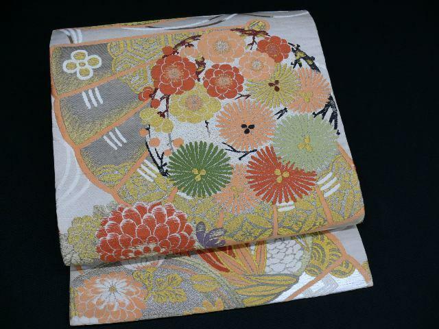 Antique Beige & Gold Silk Japanese MARU OBI w/UME, KIKU, Fan H771