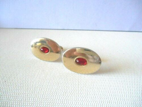 Vintage Oval Goldtone & Red HABAND 40th Year Cufflinks