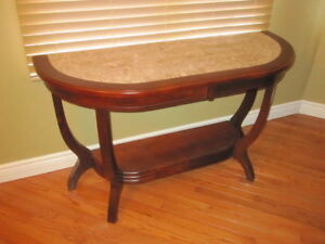 CONSOLE TABLE MAHOGANY MARBLE TOP