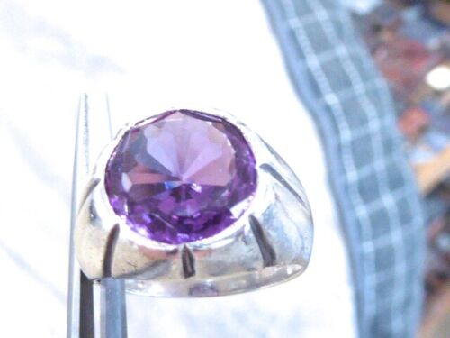 VINTAGE OLD MEXICO TAXCO SIGNED SYNTHETIC ALEXANDRITE MEN