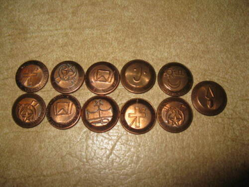 Vtg 2-Sided Masonic Pressed Lincoln Penny Token Lot 11pcs Mixed Collection Coins