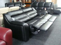 LEATHER 3 SEATER POWER RECLINER BLACK EX DISPLAY FURNITURE VILLAGE + 4 SEATER CURVED LEATHER SOFA