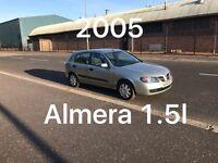 2005 Nissan Almera 1.5l £350 5 Door MOT OCT 2017 100k Miles