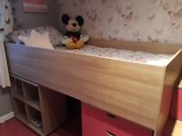 Pink cabin bed with desk,chair,chest of draws and cubed unit