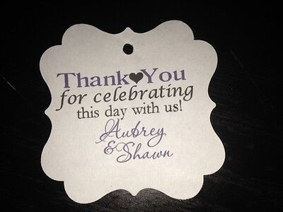 Wedding Favor Tags Square Personalized Thank You For Celebrating Square Tags