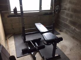 Heavy Duty Marcy Weight Bench/squat rack with 120kg and ez bar