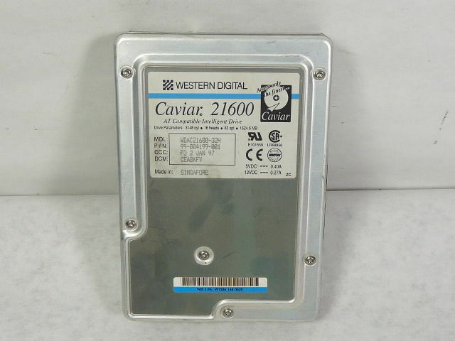 "Western Digital WDAC21600-32H Caviar Hard Drive 1GB ATA/33 5200RPM 3.5""  USED"