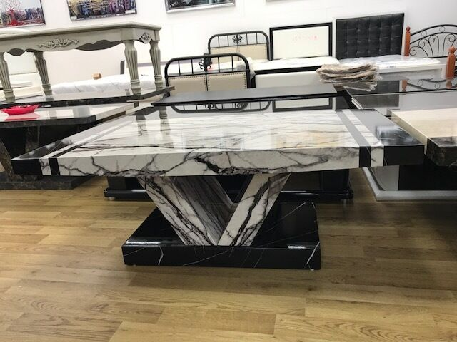 Marble Effect Mdf Laminated Black White Coffee Table Living Room Furniture
