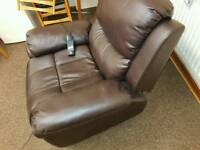 Brown leather electric reclining riser