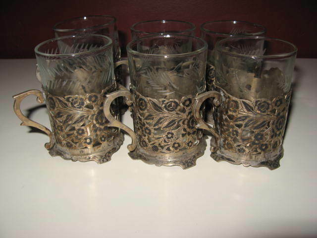 Antique old vintage persian silver tea set of 6 floral design cup w/ glass