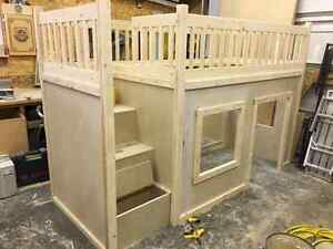 handcrafted twin size loft bed with playhouse