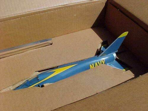 ORIGINAL VINTAGE TOPPING F-11 TIGER BLUE ANGELS AIRCRAFT DESK MODEL IN BOX
