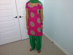 Green and Pink Salwar Kamez Indian Punjabi Suit