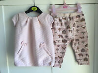 Ted baker tunic top & zara trousers baby girl outfit 6-9 m