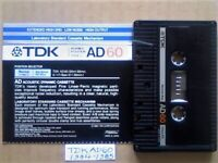 VERY RARE TDK AD 60 ACCOUSTIC DYNAMIC CASSETTE TAPES 1984-1985 JOB LOT OR SOLO AD60