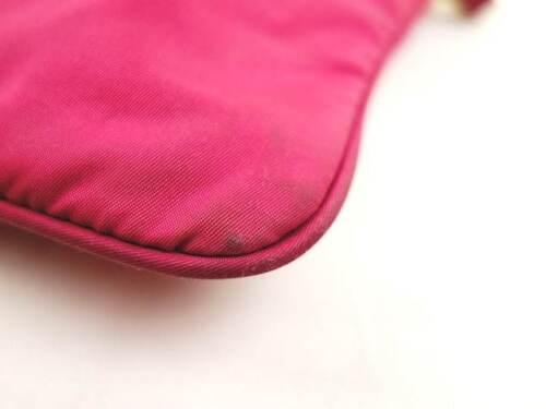Auth PRADA Pink Nylon &  Leather Shoulder Bag