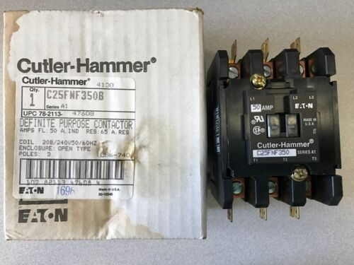 Eaton Cutler-Hammer # C25FNF350B (-S) 3 Pole 50A Definite Purpose Contactor