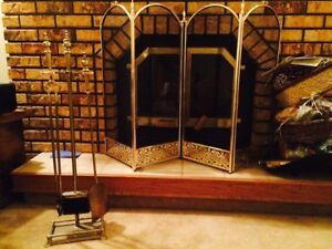 Brass Fireplace screen and 5 piece set