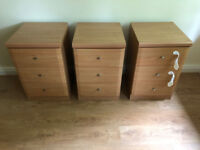 3 Bedside Tables - Light Oak finish - 3 Drawers per unit. Used but great condition.
