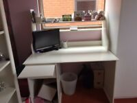 White desk, with shelf and leaf pull out. Excellent condition.