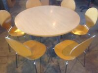 4ft round table with 6 chairs