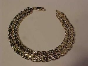 "#3338-Attractive Double strand Marine link Bracelet 10k Y/G-*8 3/8"" long 24.33 grams-Free s/h in Canada via Express post"