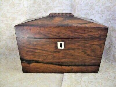 Sarcophagus Shaped Rosewood Tea caddy ~ NO key