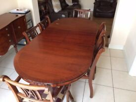Mahogany Dining Table, 7 Chairs and Sideboard Cabinet