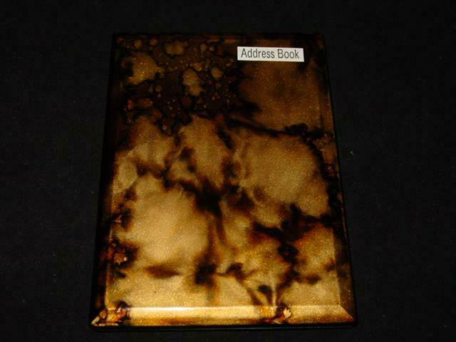 Vintage Otagiri ADDRESS BOOK - Japan Lacquerware Hardshell - BLACK GOLD - NEW