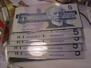 Five Crisp Unc 1986 Consecutive Five Dollar Notes ANP Knight Dod London Ontario image 3