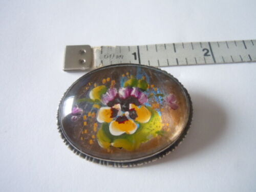 Goofus glass pansy and butterfly wing brooch