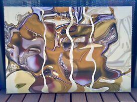 Original mixed media art print in beige, cream and pale purple