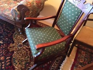 REDUCED- Antique upholstered armchair + rocker- great condition.