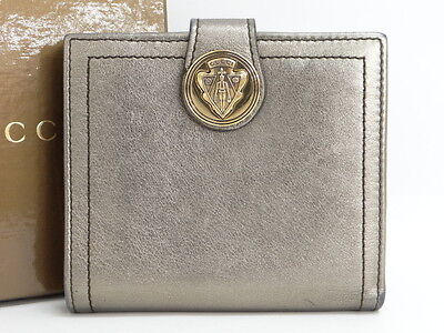 Auth GUCCI Wallet Gucci Crest Snap Bifold Leather Italy 0 Ship 01140030800 wF