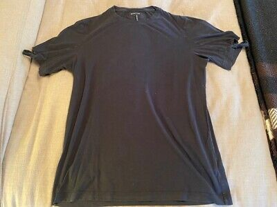 HELMUT LANG CLASSIC MEN'S BLACK T SHIRT WITH RIPPED SLEEVES LARGE