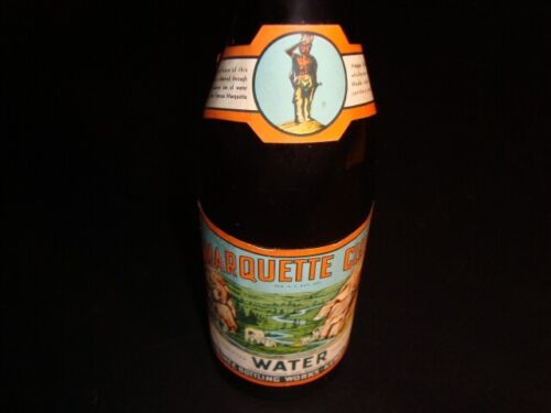 Circa 1930s Marquette Club Water Labeled Bottle, Kewuanee, Wisconsin