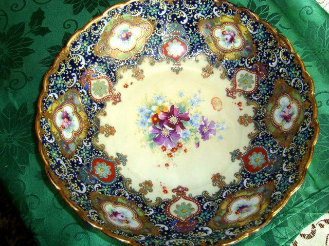 """Superb LARGE 12 3/4"""" x4"""" Fruit Bowl -Gold & Color  beaded, amazing artistry"""