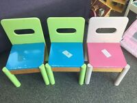 Solid wood kids chairs x3