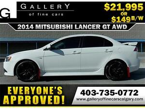 2014 Mitsubishi Lancer GT AWC $149 bi-weekly APPLY NOW DRIVE NOW