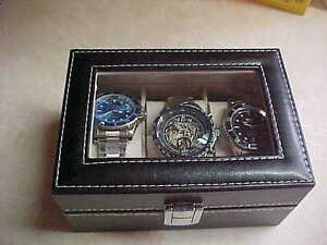 Three Mechanical Automatic Mens Wristwatches With Glass Top Box!