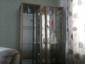 2 glass display cabinets 4 glass shelves beech affect with top lights