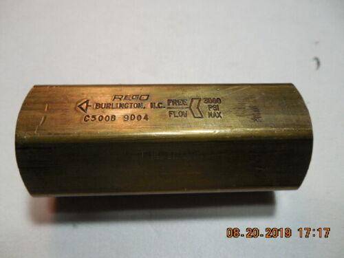 "Check Valve-Brass 1/2"" NPT P/N: C500B"