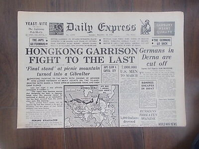 DAILY EXPRESS WWII NEWSPAPER DECEMBER 20th 1941 HONG KONG FIGHTS TO THE LAST