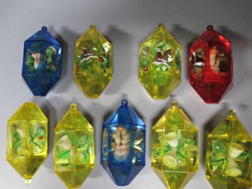 Lot of 9 Jewelbrite Plastic Diorama Hexagon Christmas Ornaments, RARE