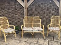 Wicker garden furniture, sofa and two chairs