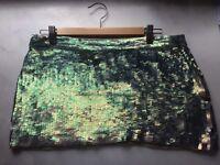 Sequin All Saints skirt in metallic green in size 12