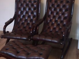 Mahogany rocking chair with foot stool