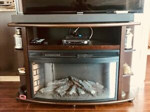 Beautiful Dark Wood TV Stand with Electric Fireplace